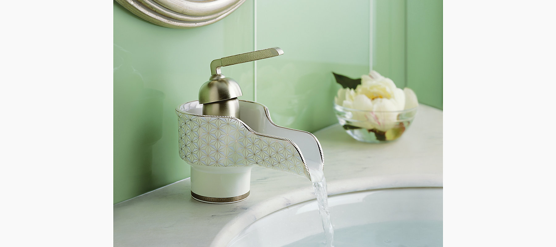 Silkweave design on Bol bathroom sink faucet with lever handle | K ...